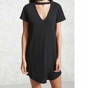 Mini black choker dress